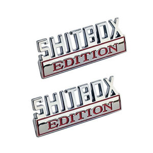 Shitbox Edition Emblem Chrome Red Badges Fits Chevy Ford Car Truck