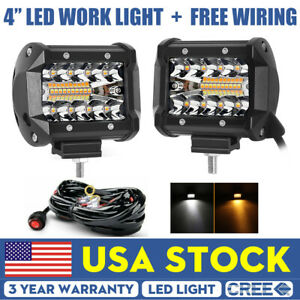 2x 4 Amber White Led Work Light Combo Fog Driving For Jeep Offroad Wiring Kit