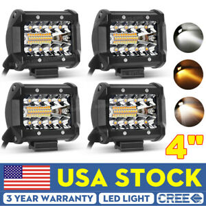 4x 4 inch Square Led Work Light Spot Flood Combo Driving Fog Amber Lamp Offroad