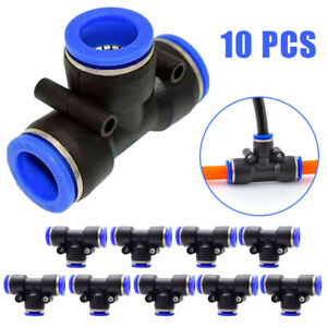 10pcs set Tube 6mm 1 4 For Tee Pneumatic Push Connector Air Line Quick Fittings
