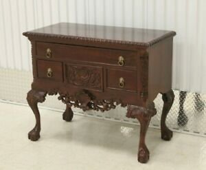 Chippendale Style Carved Mahogany Ball Claw Lowboy Chest