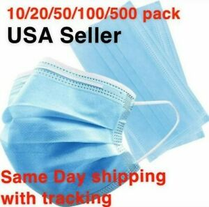 Usa Seller 50 Pcs Face Mask Mouth Nose Protector Respirator Masks With Filter