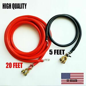 Battery Relocation Kit 2 Awg Cable Top Post 20 Ft 5 Ft Black Usa Made