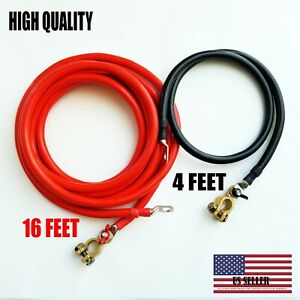 Battery Relocation Kit 0 1 Awg Cable Top Post 16 Ft Red 4 Ft Black Usa Made