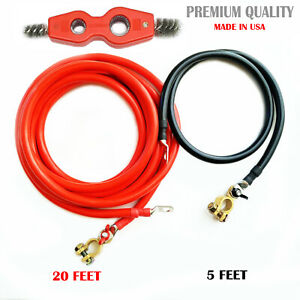 Battery Relocation Kit 0 1 Awg Cable Top Post 20 Ft Red 5 Ft Black Usa Made