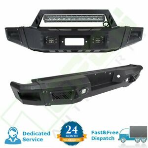 Black Front Rear Bumper Guard For Ford F 150 09 14 Steel Lorry Winch Led Lights