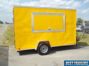 6x12 New Concession Vending Trailer Yellow 6 X 12 Enclosed Cargo Trailer
