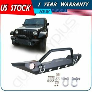Texture Black Front Bumper Fit 2007 2018 Jeep Wrangler Jk Winch Plate D rings