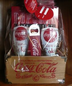 New Coca-Cola Wood Crate Gift Set w/Glasses  Bottle Opener & Popcorn