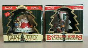 Coca Cola Christmas -Trim A Tree SANTA / Bottling Works FLYING SCHOOL Ornaments
