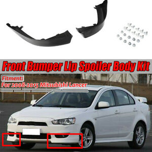 2x Front Bumper Lip Side Splitter Spoiler Cap For Mitsubishi Lancer 2008 2015