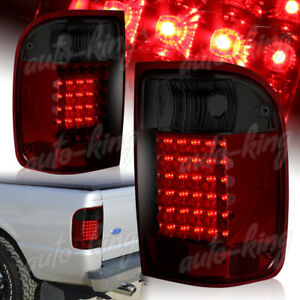 Fit 1993 2000 Ford Ranger Chrome Housing Red smoke Lens Led Rear Tail Light Lamp