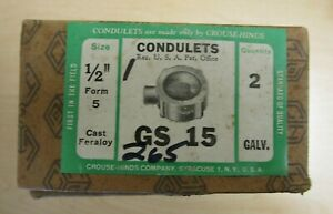 Crouse hinds Gs 15 1 2 Condulets box Of 2 New open Box