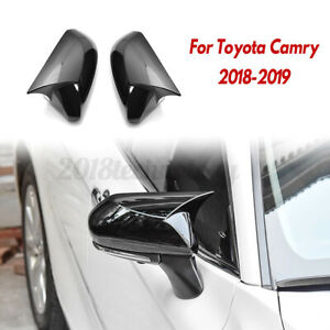 Glossy Black Rear View Side Rearview Mirror Cover Cap Trim For Toyota Camry 2018