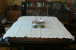 Vintage Antique Linen Tablecloth For Bed Breakfast