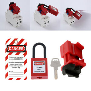 Heavy Duty Industrial Circuit Breaker Lockout Set 3pcs Protection Tool Red