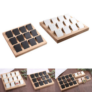 24pcs Handmade Paper Earring Holder Cards 2x Bamboo Tray Jewelry Display
