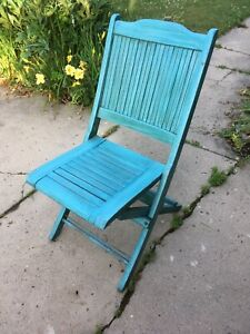 Vintage Wooden Slatted Deck Folding Chair Blue Green Wash Porch Patio Lodge