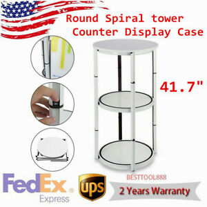 41 7 Round Portable Aluminum Spiral Counter Display Case Tower Shelves Us Ship
