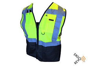 10 Pack High Visibility Reflective mesh Safety Vest ppe black Yellow Size Xl