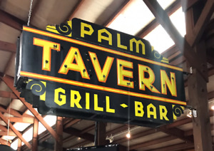 Palm Tavern Outdoor Ds Porcelain Neon Sign