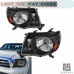 Black Amber Headlamps Left right Headlights Assembly For 2005 2011 Toyota Tacoma