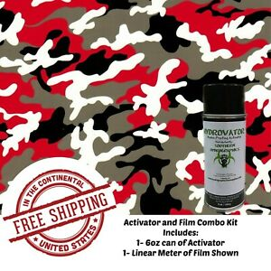 Hydrographic Film Water Transfer Hydro Dip Kit Activator Film Red Black Camo