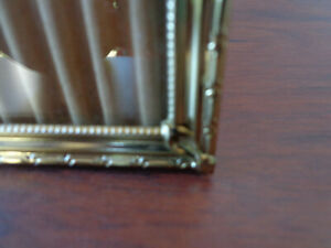 Vtg Gold Metal Picture Frame 8x10 Photo Fancy Corners Ribbed Victorian Style