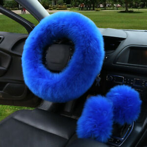 Set Super Soft Warm Gem Natural Fur Long Wool Fuzzy Steering Wheel Cover Blue
