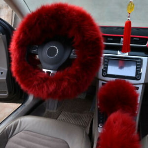 3 Fur Wool Furry Fluffy Car Steering Wheel Cover Accessories Set Red Wine Color