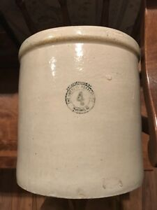 The Buckeye Pottery Co Macomb Wi No 4 Crock Rare Antique Vintage Not Red Wing