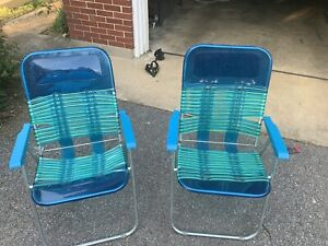 Vintage Vinyl Tube Deck And Beach Chairs Unique And Rare Blowuphead Pillow