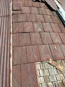 Reclaimed Antique Victorian Shingles Pressed Tin Roof Panels Rusty Beautiful