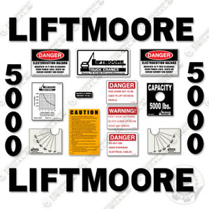 Liftmoore 5000 Decal Kit Crane Arm Replacement Stickers 7 year Vinyl 3m
