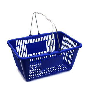 Large Plastic Shopping Basket In Blue Finish 18 75 W X 12 5 D X 9 75 H Inch