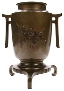 Antique Large Signed Japanese Meiji Per Bronze Vase Samurai On Horseback Horse
