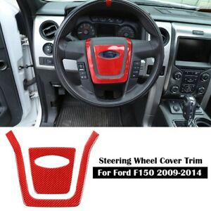 Red Carbon Fiber Steering Wheel Center Cover Trims Sticker For Ford F150 2009 14