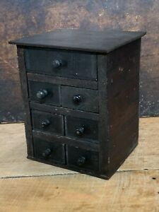 Vintage Apothecary Spice Cabinet Wood Chest Antique Box 7 Drawers