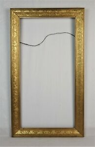 Antique 1880s 1900s Picture Frame Victorian Gold Floral Pressed Wood Fits 24x12