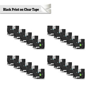 20pk Tz111 Tze111 Label Maker Tape 8m For Brother P touch Black On Clear 1 4