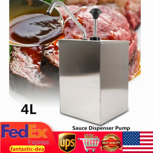 4l Condiment Sauce Dispenser Pump Squeeze For Restaurant Catering Stainless Usa
