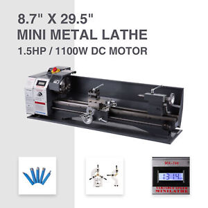 Upgraded 8 7 x 29 5 Mini Metal Lathe 1100w Metal Gear Digital Display 5 Tools