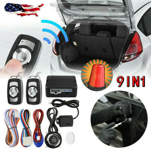 Remote Engine Start Car Alarm Keyless Entry Vehicle Security System Push Button