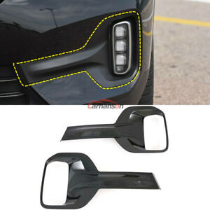Carbon Fiber Front Lamp Foglight Cover Trim For Kia Seltos Car Accessories Parts