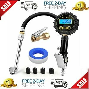Azuno Digital Tire Inflator With Pressure Gauge 200 Psi Heavy Duty Air Compress