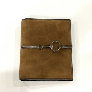 Franklin Covey Brown Suede Leather Open Planner Binder 7 Rings 9 5x8 Horse Bit