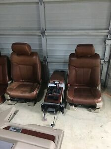 2009 2014 Ford F150 King Ranch Brown Leather Front Rear Seats W Console Power