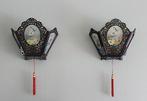 Pair Antique Chinese Zitan Style Palace Wood Painted Glass Wall Lanterns Light