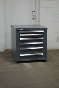 Used Stanley Vidmar 6 Drawer Cabinet 33 Inch High Industrial Tool Storage 2178
