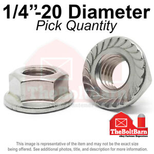 1 4 20 Stainless Steel Serrated Hex Flange 18 8 304 Lock Nuts Coarse pick Qty